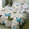 Lenjerie de pat cu Elastic, 6 Piese, Bumbac Finet, Design Pietre, Fluturi Albastri, C2418-ELASTIC