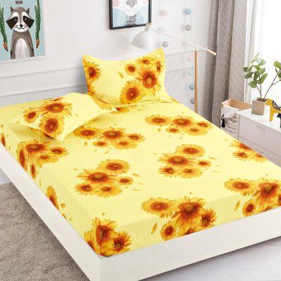 Husa pat, Bumbac Finet, Cu elastic, 180x200, Floarea Soarelui, J5935