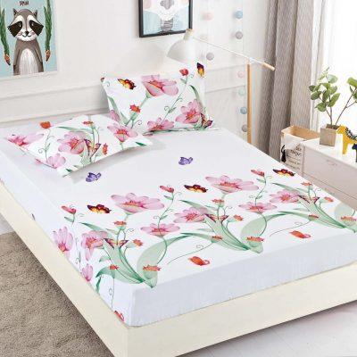 Husa pat, Bumbac Finet, Cu elastic, Camp cu flori si fluturi, J4950