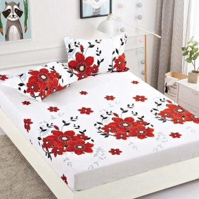 Husa pat, Bumbac Finet, Cu elastic, Design Floral, Rosu/Alb, J4952