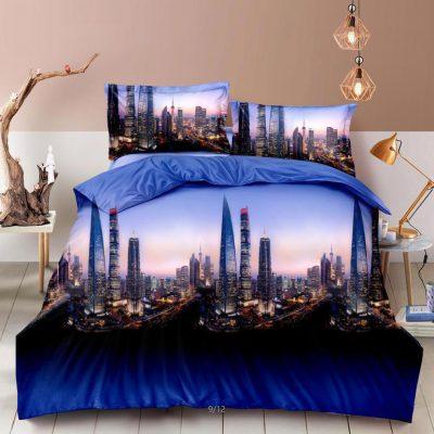 Lenjerie Bumbac Satinat 3D, Pat 2 Persoane, 4 Piese, Dubai, C3332