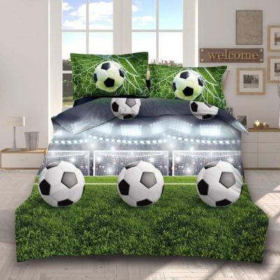 Lenjerie Bumbac Satinat 3D, Pat 2 Persoane, 4 Piese, Fotbal, Verde, C3337
