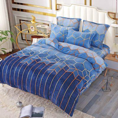 Lenjerie Catifelata, Cocolino, 6 Piese, Albastru, J5962