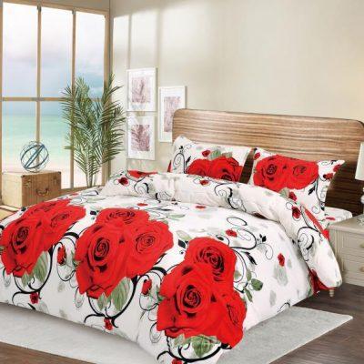 Lenjerie Catifelata, Pat Dublu, Cocolino, 4 Piese, Trandafiri Rosii, Alb, ST3527