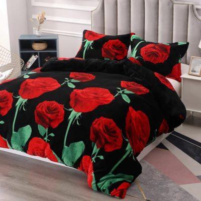 Lenjerie Catifelata, Pat Dublu, Cocolino, 4 Piese, Trandafiri Rosii, Negru, ST3535