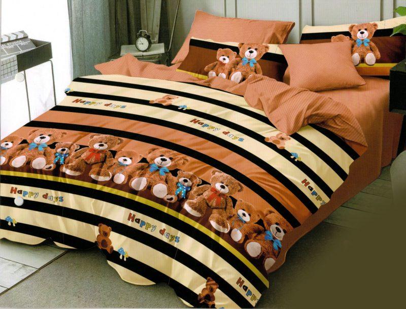 Lenjerie de pat cu Elastic, 6 Piese, Bumbac Finet, Maro, Ursuleti, C2815-ELASTIC
