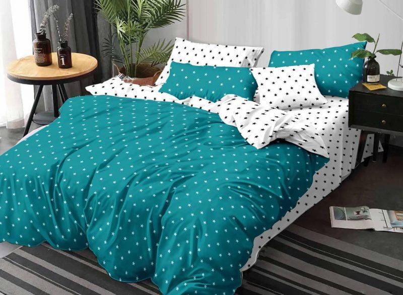 Lenjerie de pat cu Elastic, 6 Piese, Bumbac Finet, Stelute, Albastru/Alb C3096-ELASTIC