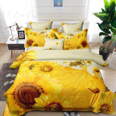 Lenjerie pat, Bumbac Finet Premium, 6 Piese, Pat 2 Persoane, Rochie Floarea Soarelui, C5276