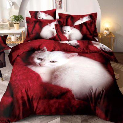 Lenjerie pat, Bumbac Finet Premium, 6 Piese, Pat 2 Persoane, White Cat, Rosu, J5667