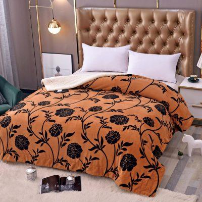 Patura Cocolino cu blanita, 200x230 cm, Portocaliu, Flori Negre, J6084