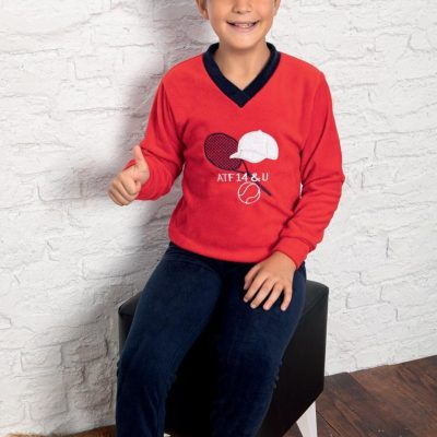 Pijama Baieti Polar, 6-14 ani, 100% Mikro, Albastru/Rosu, ST6246