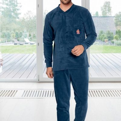 Pijama Barbati Polar, Micro 100%, Albastru, ST6139