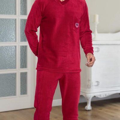 Pijama Barbati Polar, Micro 100%, Rosu, ST6231