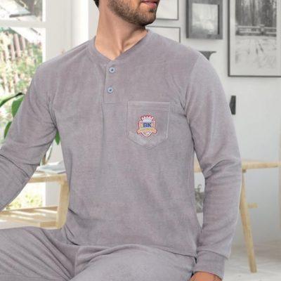 Pijama Barbati Polar, Micro 100%, Uni/Gri, ST6232