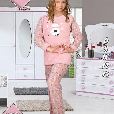 Pijama Cocolino Fete, 6-14 ani, 100% Mikro, Fulg de Nea, ST6238