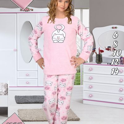 Pijama Cocolino Fete, 6-14 ani, 100% Mikro, Roz, ST6240