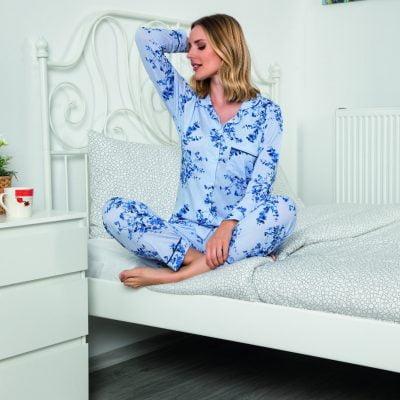 Pijama Dama, Bumbac 100%, Camasa cu Nasturi, Bleu, ST5910