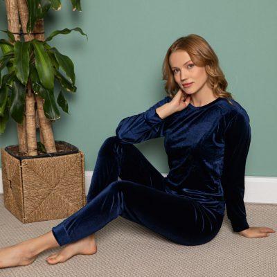 Pijama Dama, Catifea, Bleumarin, ST6204