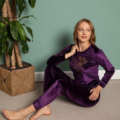 Pijama Dama, Catifea, Mov, ST6206