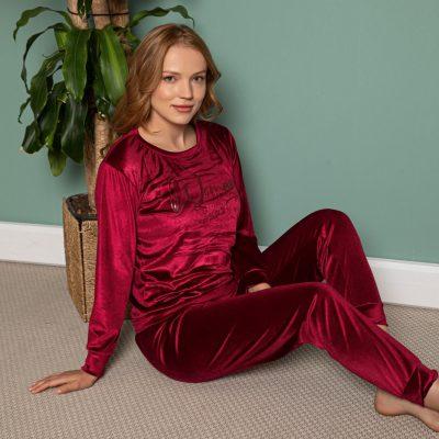 Pijama Dama, Catifea, Rosu Inchis, ST6202