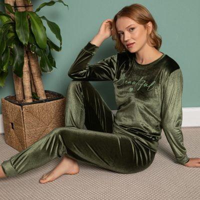 Pijama Dama, Catifea, Verde Inchis, ST6201