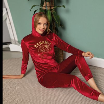 Pijama Dama cu Gluga, Catifea, Rosu, ST6220