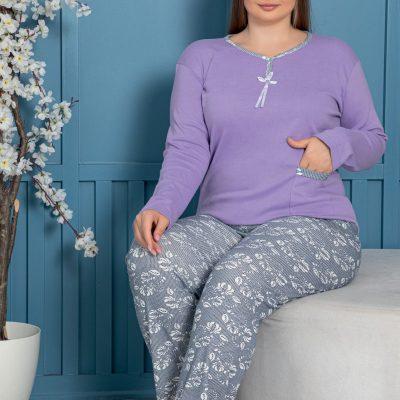 Pijama Femei Bumbac, Marimi Mari, Batal, Mov/Gri, ST6143