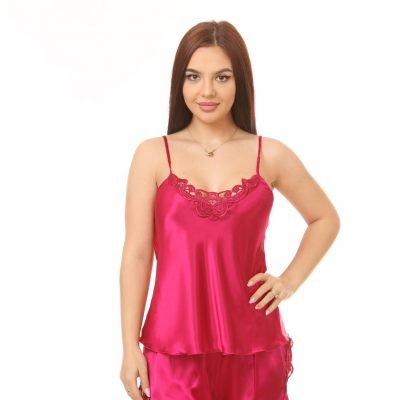 Pijama Femei, Satin, Uni, Broderie, One-Size, Fuchsia, ST4342