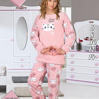 Pijama Fete, 6-14 ani, 100% Mikro, Model Pisicute, Cocolino, ST6237