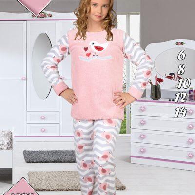 Pijama Fete, 6-14 ani, 100% Mikro, Roz/Alb, Cocolino, ST6235